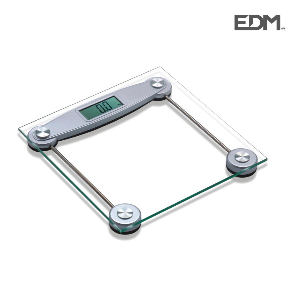 Bascula de baño transparente max. 150kg edm