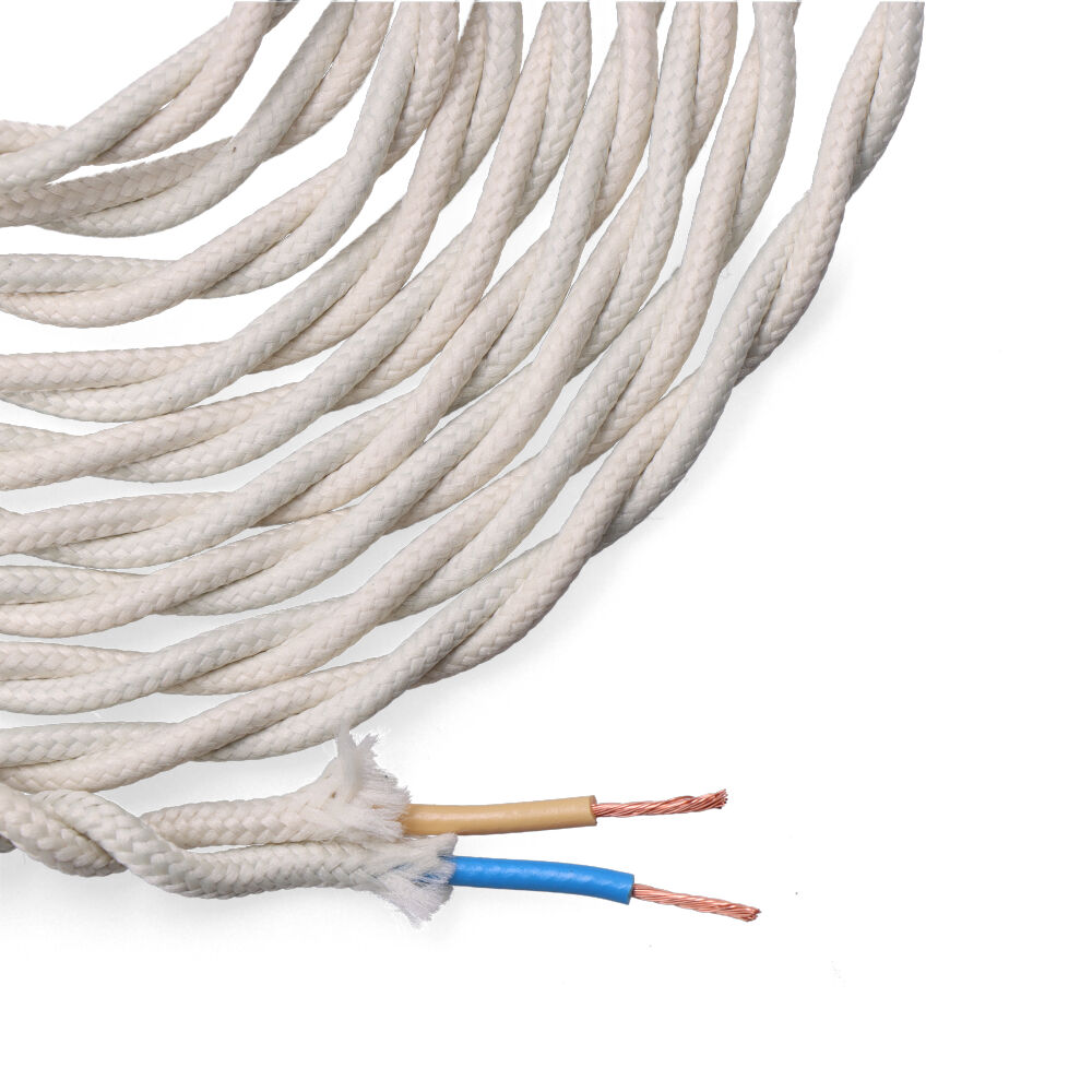 Cable Textil Trenzado 2X0,75Mm Algodon 5M