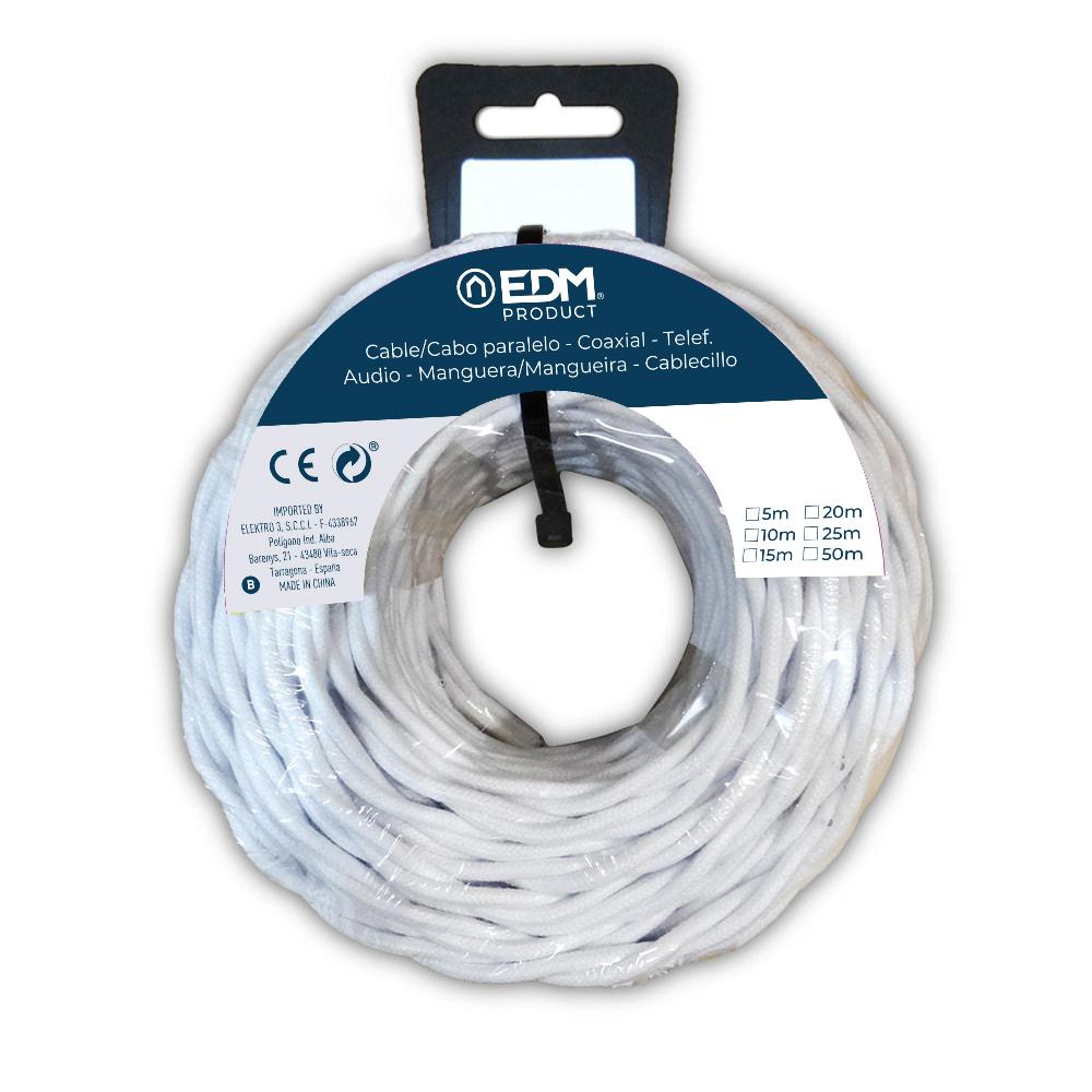 Paralelo Textil Trenzado 3X1,5 Blanco 5Mts