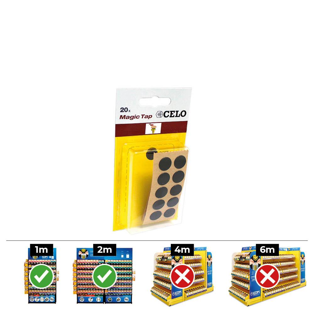 Caja  10 Blisters 20Un Tapon Adhesivo Din/Ref Mtap Negro Celo