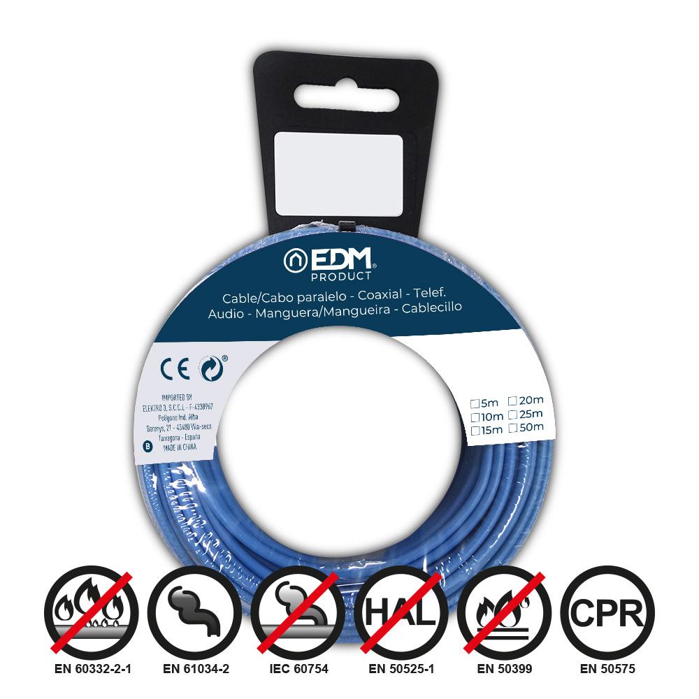 Carrete Cablecillo Flexible 1,5Mm Azul 15M Libre-Halogeno