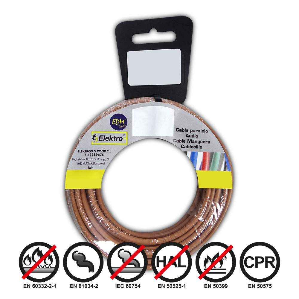 Carrete Cablecillo Flexible 1,5Mm Bicolor 15M Libre-Halogeno