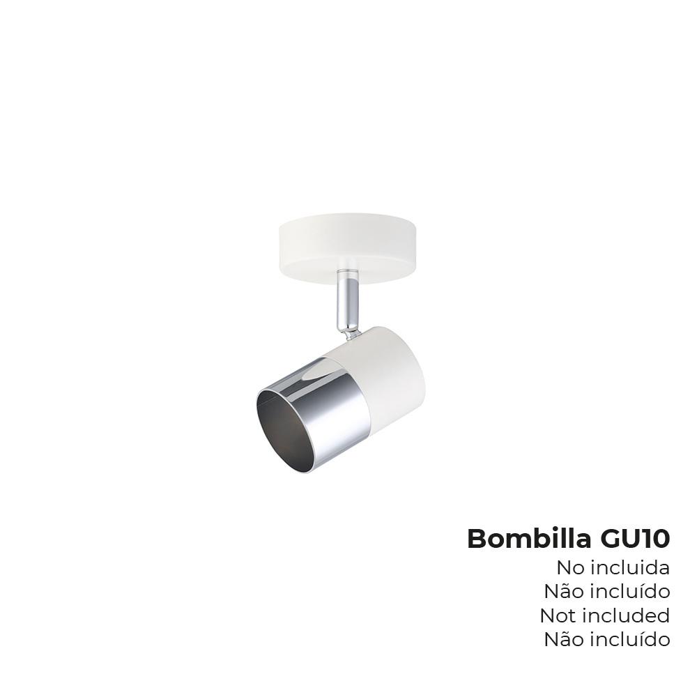 "Foco ""Moon"" 1 Elemento Blanco + Plata Gu-10 Edm"