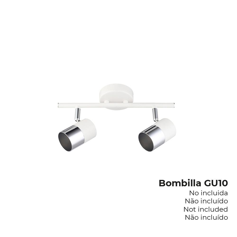 "Foco ""Moon"" 2 Elementos Blanco + Plata Gu-10 Edm"