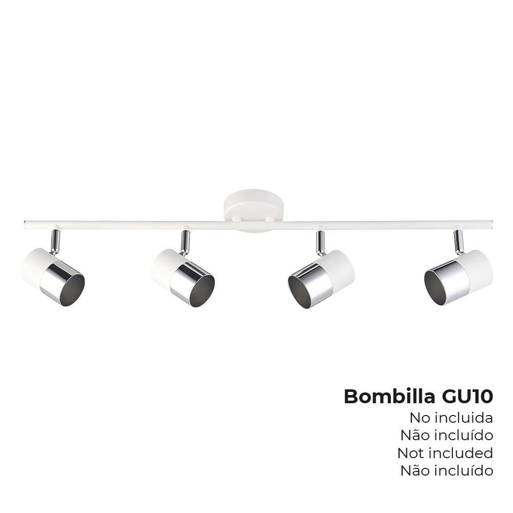 "Foco ""Moon"" 4 Elementos Blanco + Plata Gu-10 Edm"