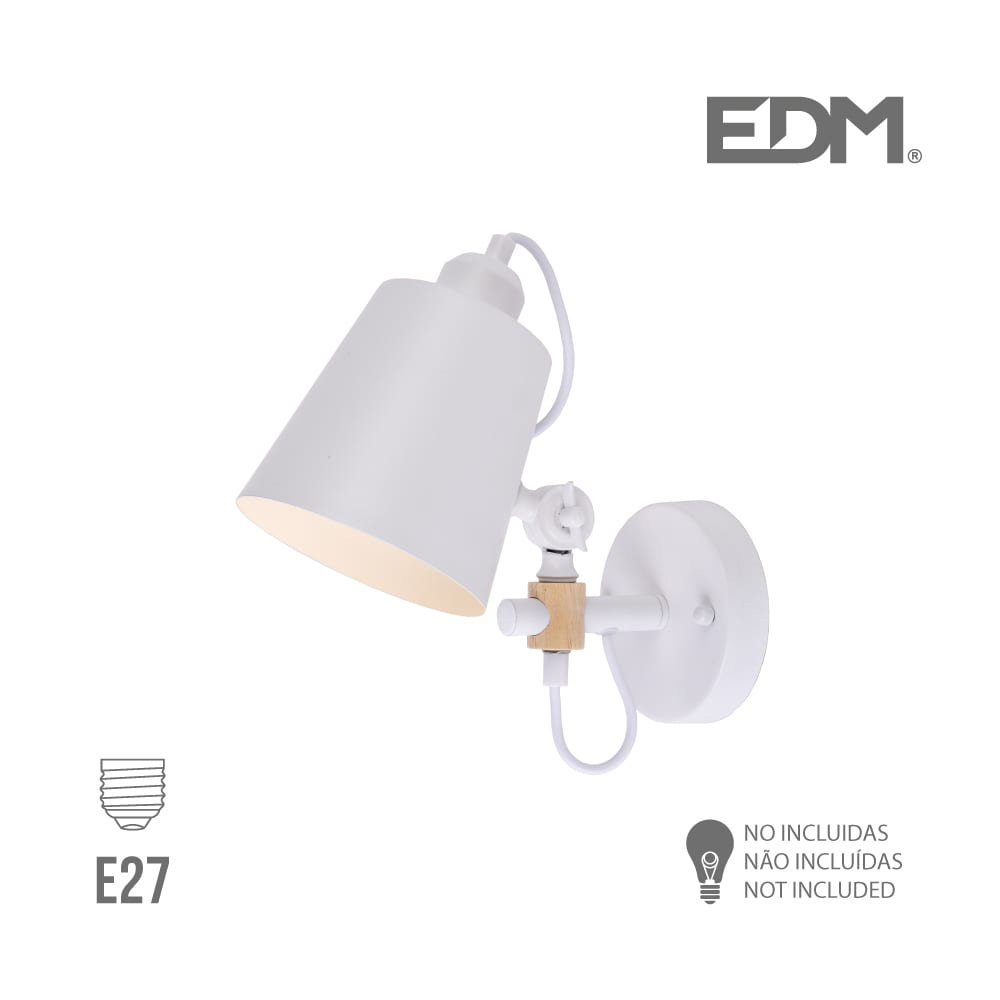 Aplique Pared  E27 Blanco Edm