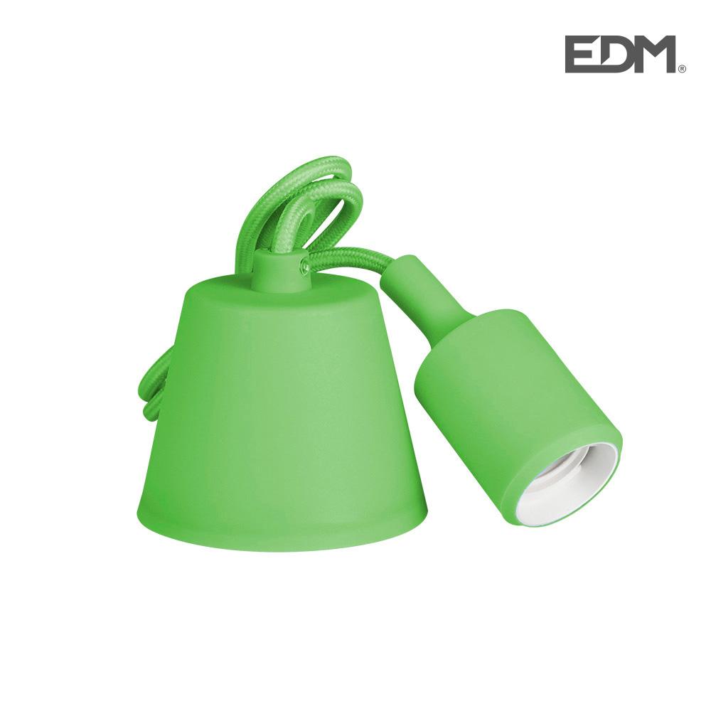 Colgante De Silicona E27 60W Verde (98,4 Cm) Edm