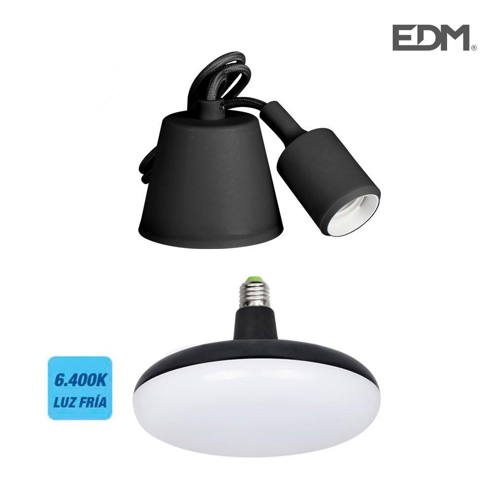 Kit Colgante De Silicona Bombilla Incluida Negro E27 24W 6.400K 1700 Lumens (98,4 Cm) Edm