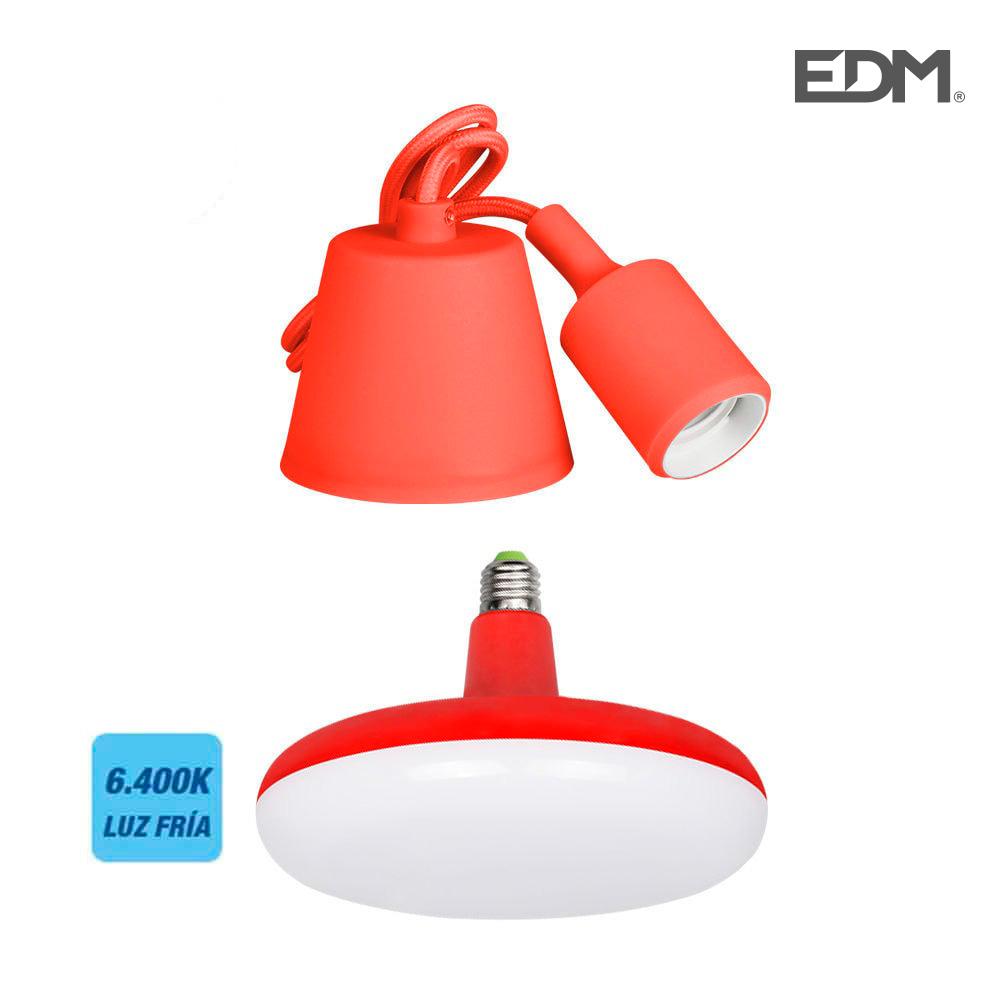 Kit Colgante De Silicona Bombilla Incluida Rojo E 27 24W 6.400K 1700 Lumens (98,4 Cm) Edm