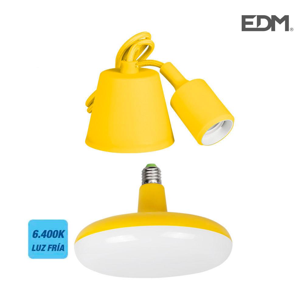 Kit Colgante De Silicona Bombilla Incluida Amarillo E27 24W 6.400K 1700 Lumens (98,4 Cm) Edm