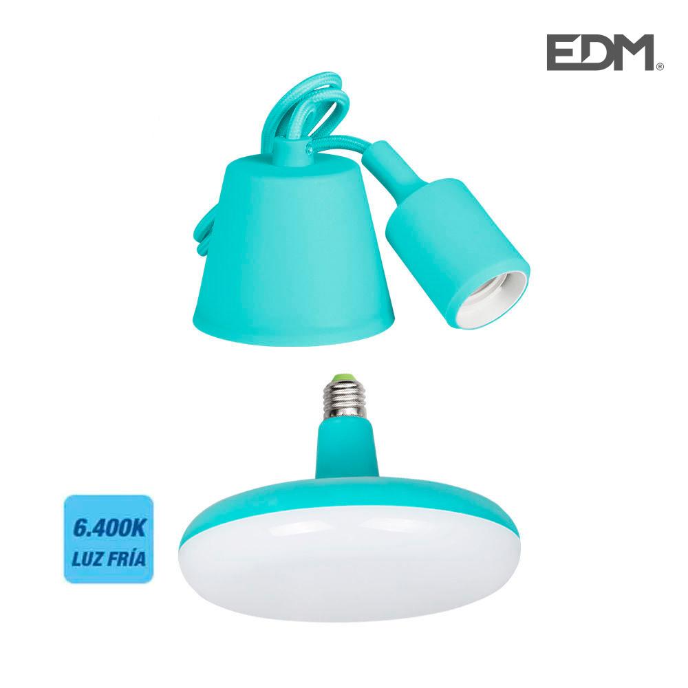 Kit Colgante De Silicona Bombilla Incluida Azul E27 24W 6.400K 1700 Lumens (98,4 Cm)