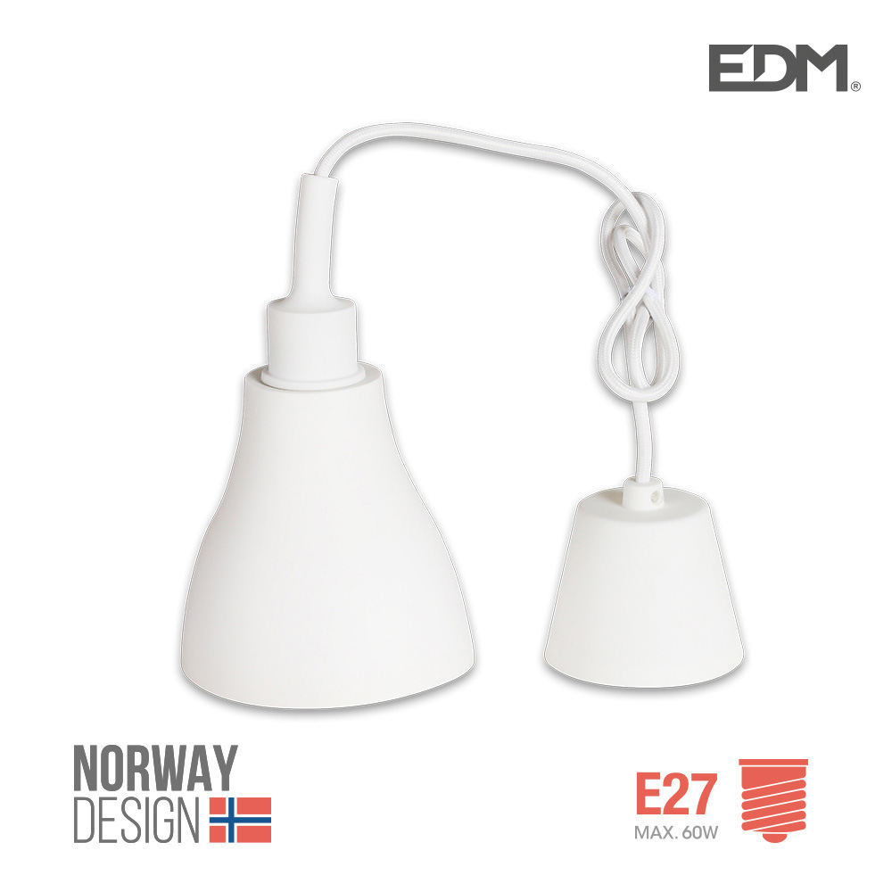 Colgante De Silicona Norway Design E27 60W Blanco Edm