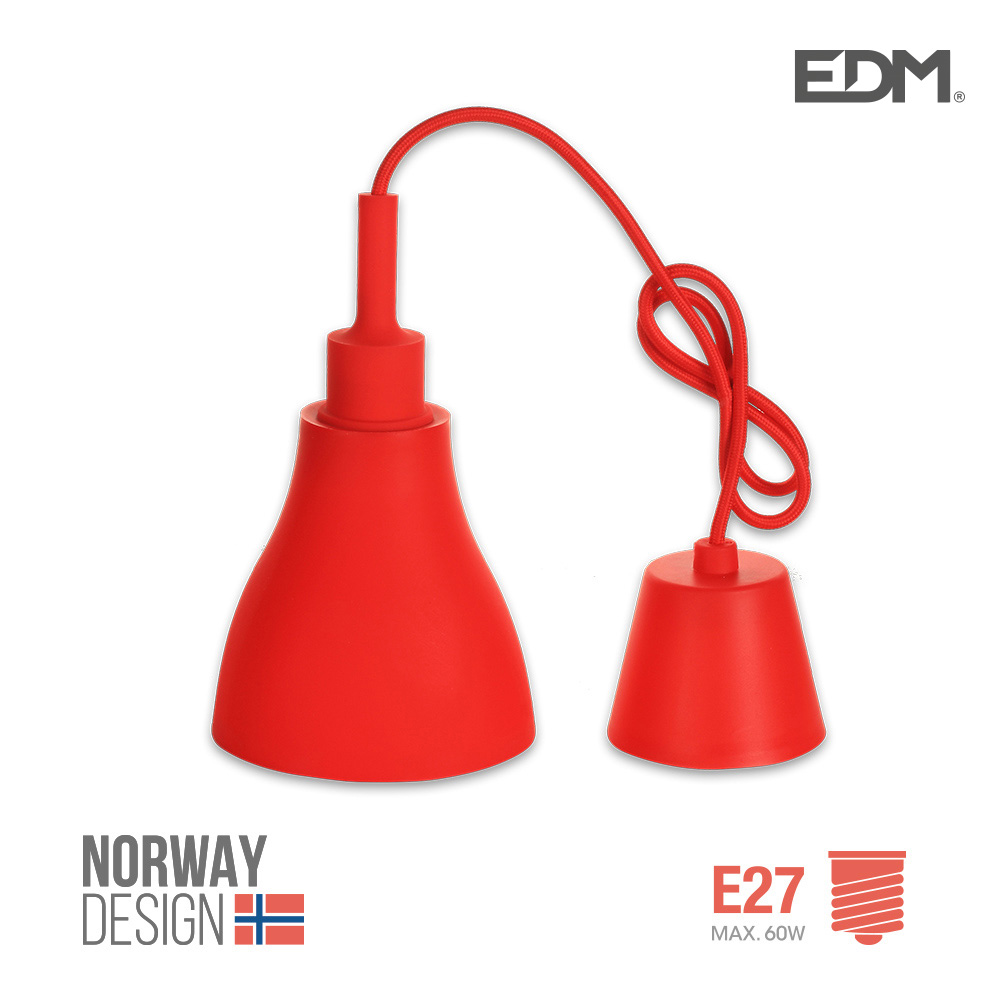 Colgante De Silicona Norway Design E27 60W Rojo Edm