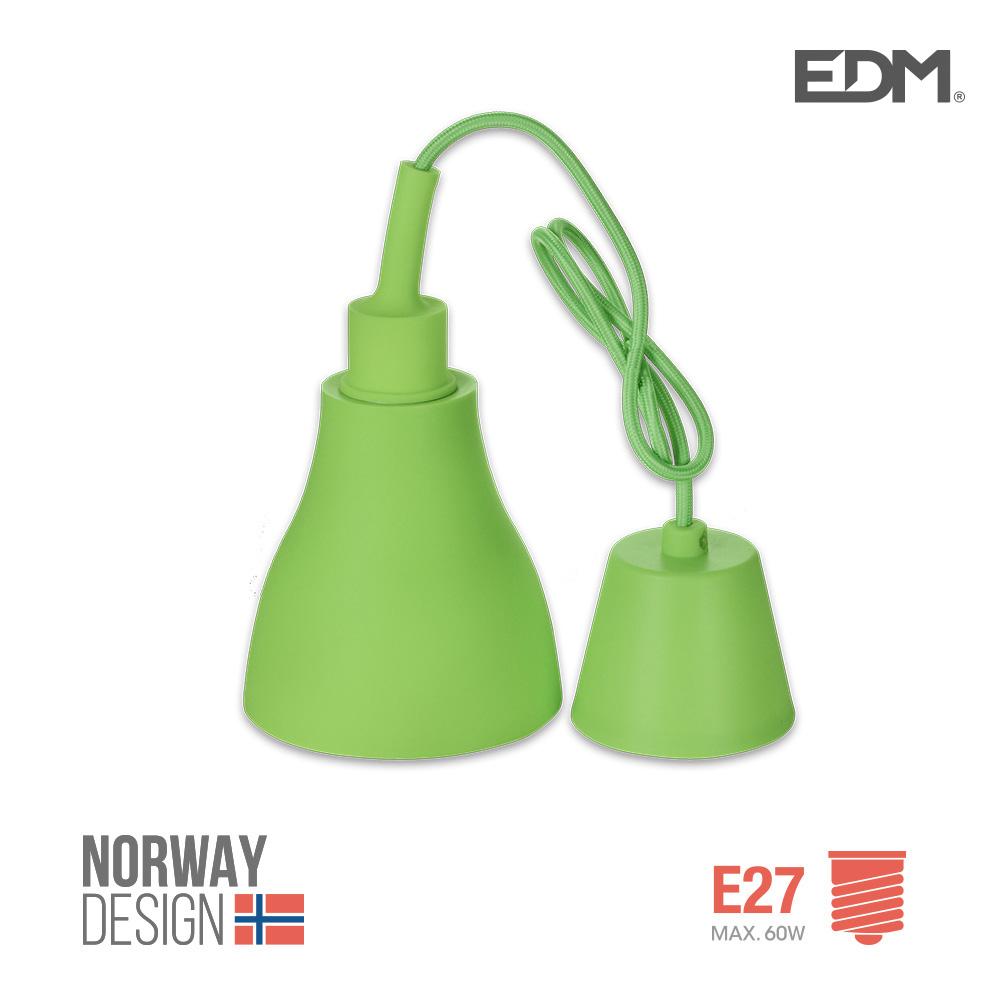 Colgante De Silicona Norway Design E27 60W Verde Edm