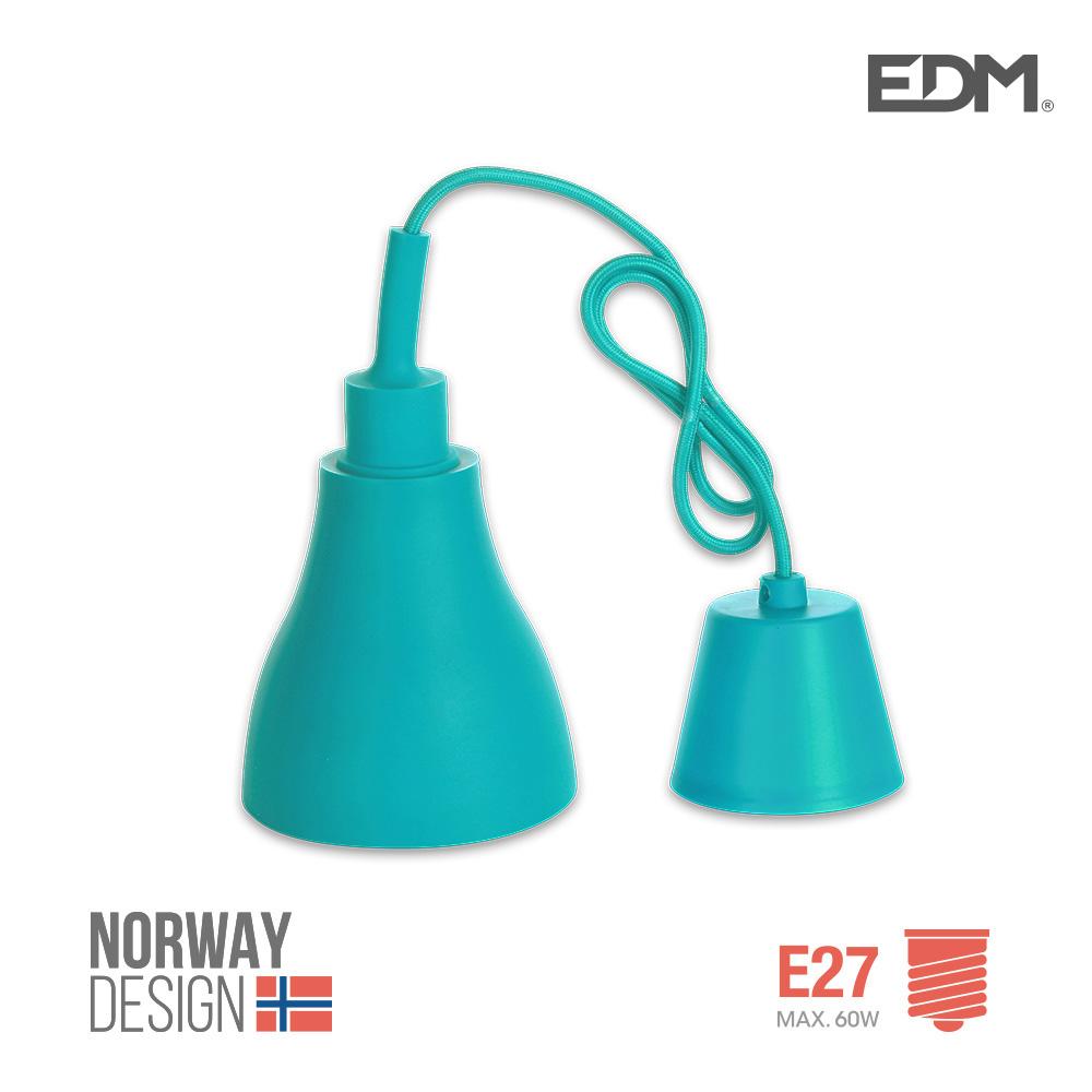 Colgante De Silicona Norway Design E27 60W Azul Edm