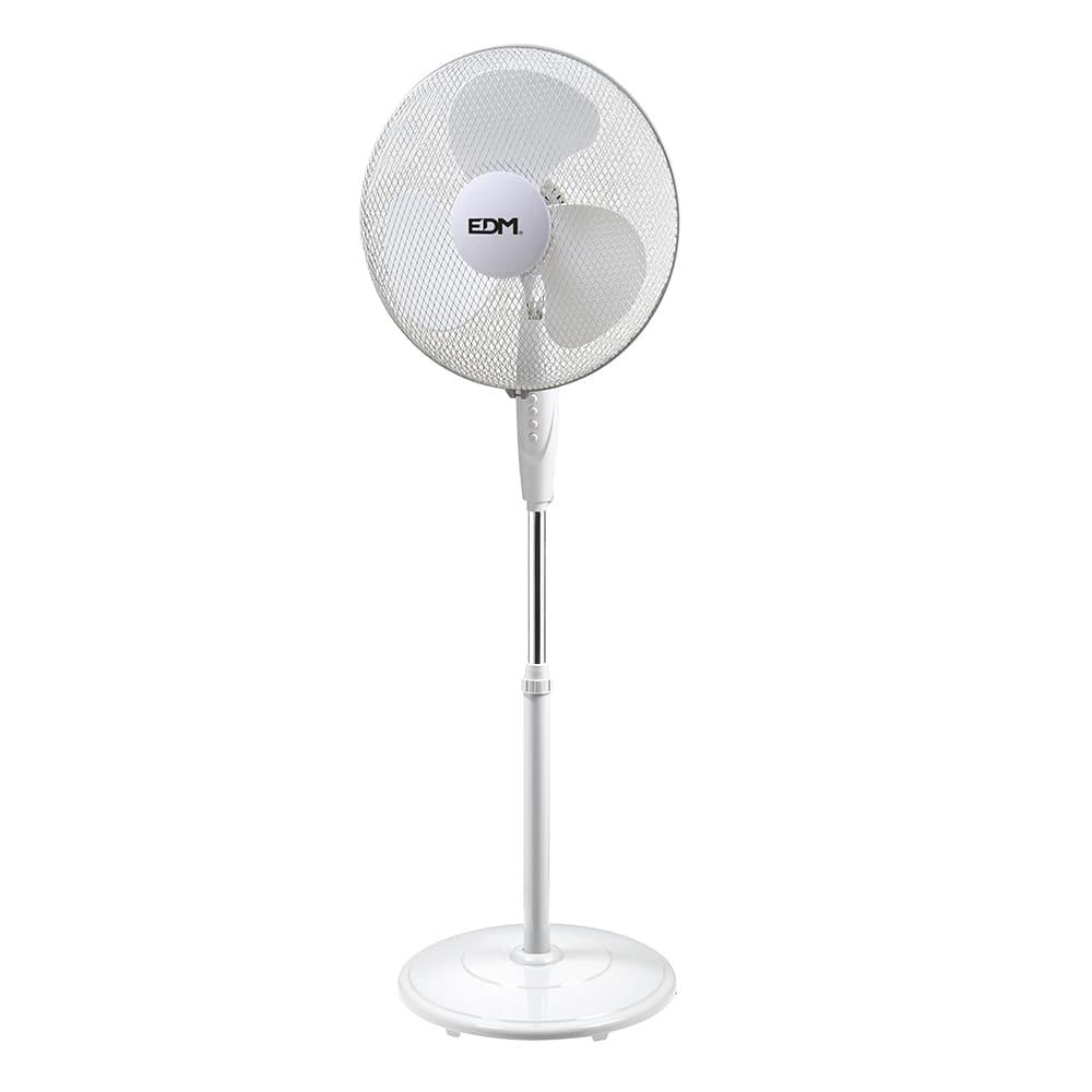 Ventilador de pie con base circular blanco 45w  ø aspas 40cm altura regulable 110-130 cm edm