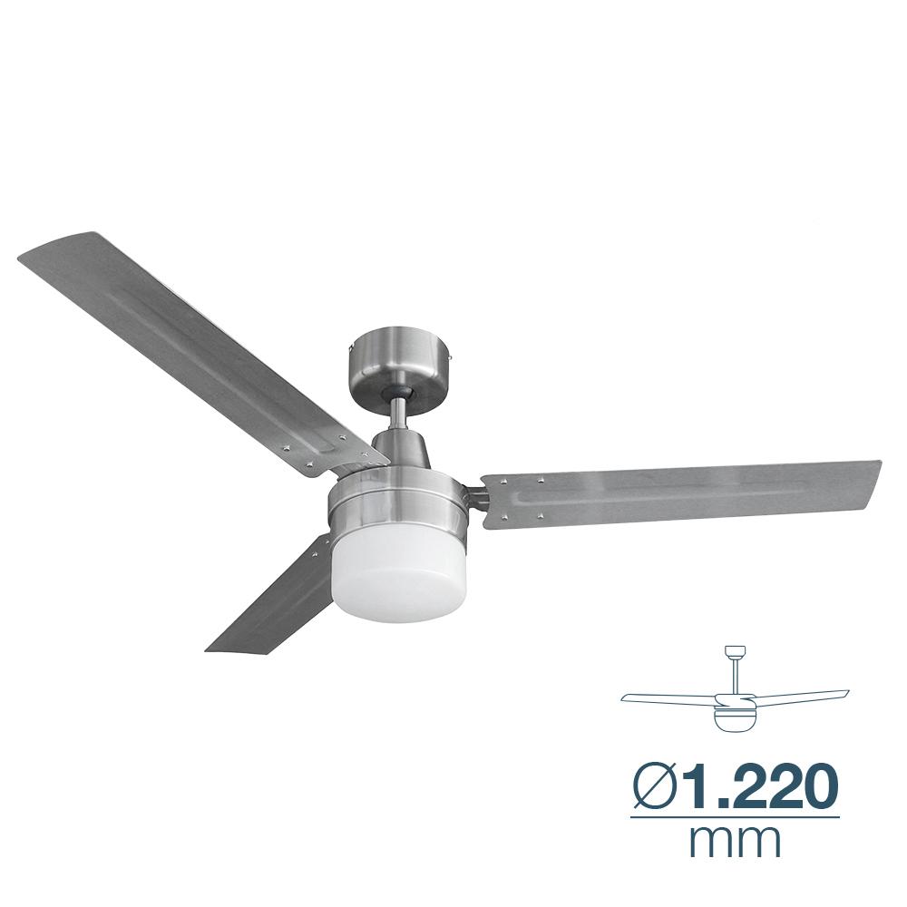Ventilador De Techo Modelo Bering 60W Ø122Cm Mando De Pared Cromo 120M3/Min Edm