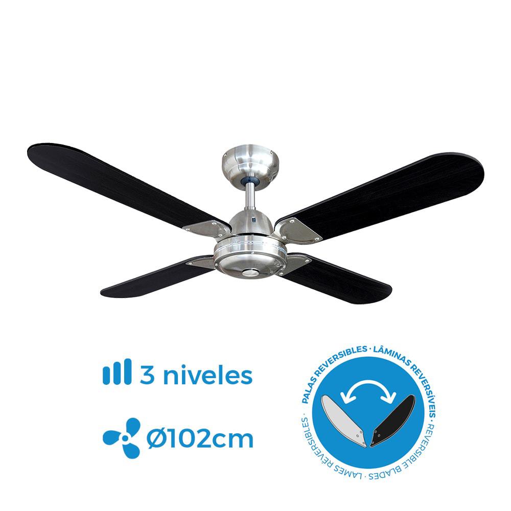 Ventilador de techo modelo balear negro/cromado 50w ø aspas 102 cm edm
