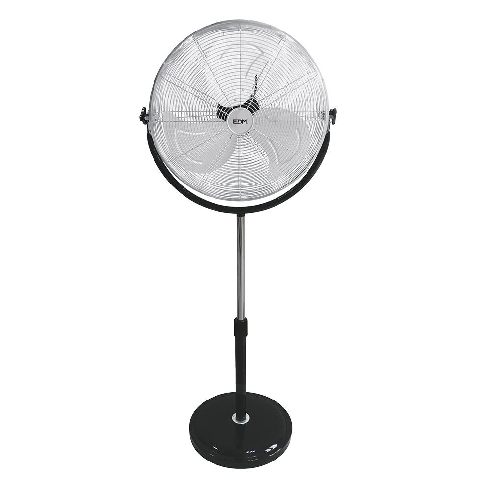 Ventilador de pie industrial con base circular cromado/negro 120w  ø aspas 50 cm altura regulable 118-148 cm edm