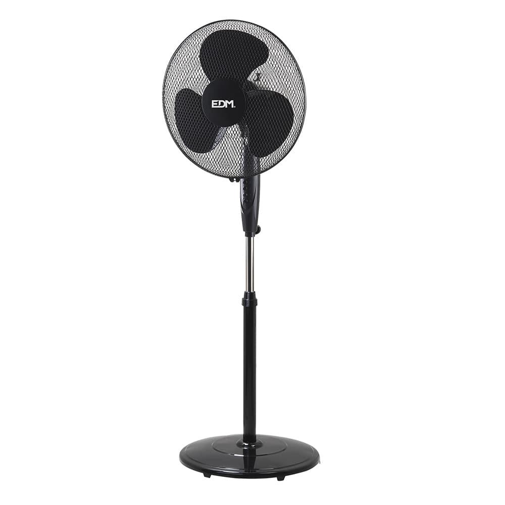 Ventilador de pie con base circular negro 45w ø aspas 40cm altura regulable 110-130 cm edm
