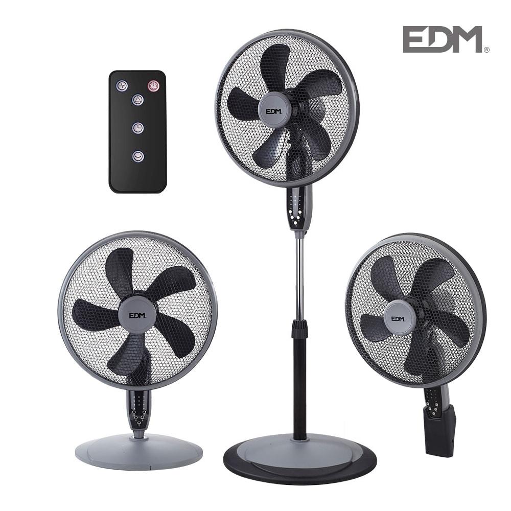 Ventilador 3 en 1( pie, sobremesa y pared ) negro 55w ø aspas 40 cm altura regulable 110-130cm edm