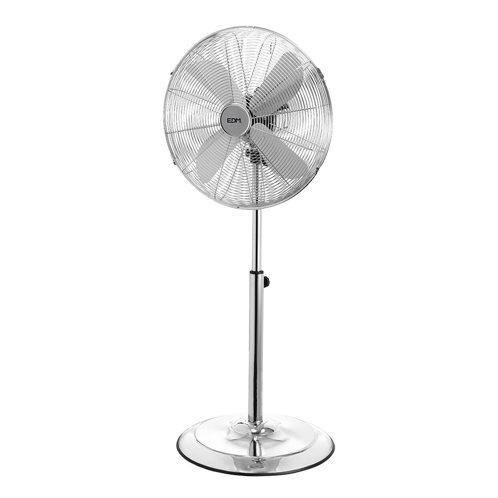 Ventilador pie con base circular cromado 60w ø aspas 40 cm altura regulable 90-116 cm edm