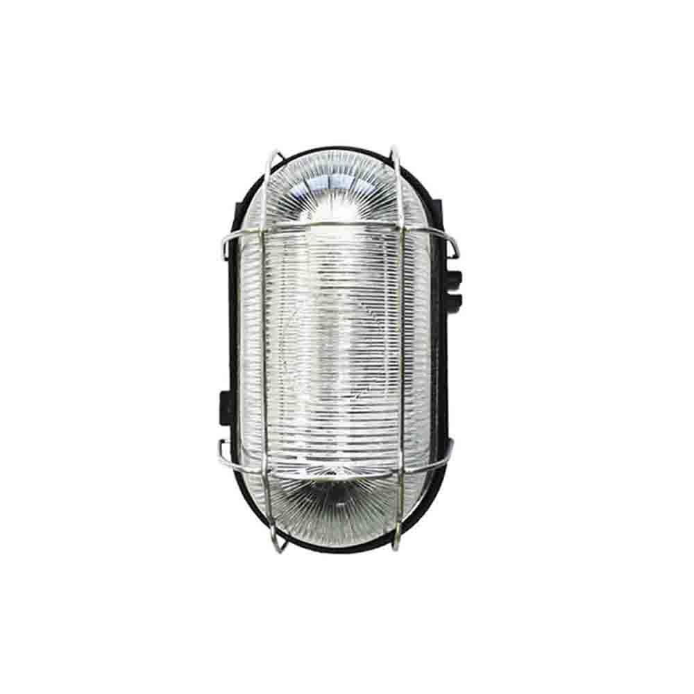 Aplique Estanco 100W Oval Rejilla Metalica Medidas: 17,5X8,5 Cm