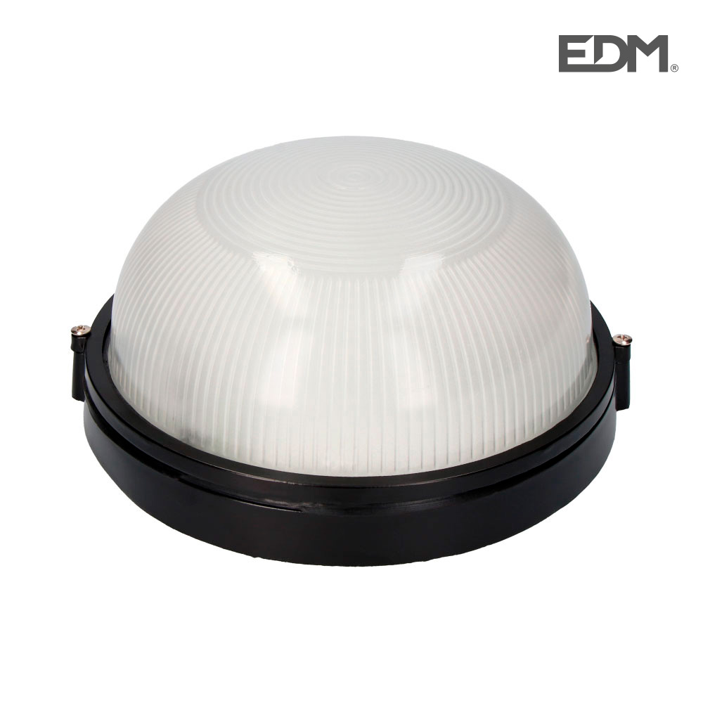 Aplique Aluminio Ip54 Redondo Negro E27 100W Modelo Cambrils