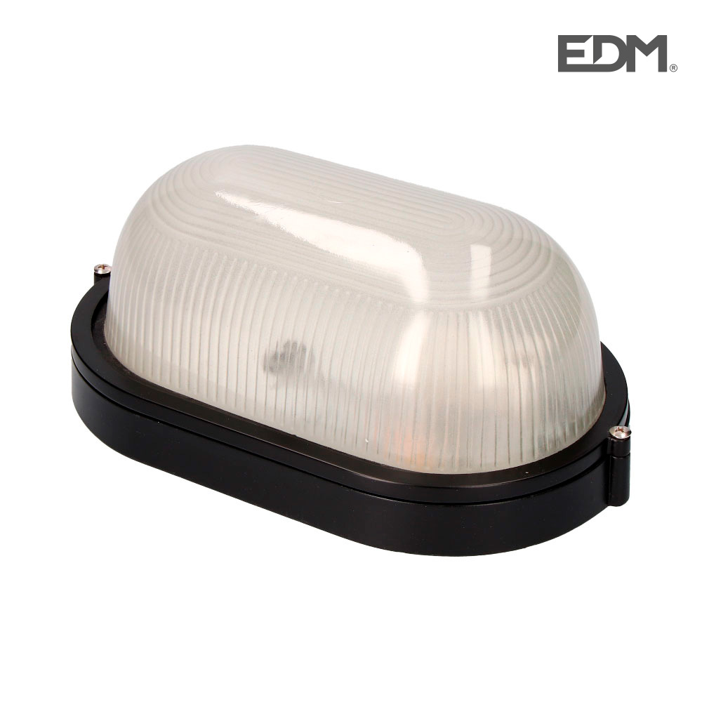 Aplique Aluminio Ip54 Oval Negro E27 100W Modelo Cambrils