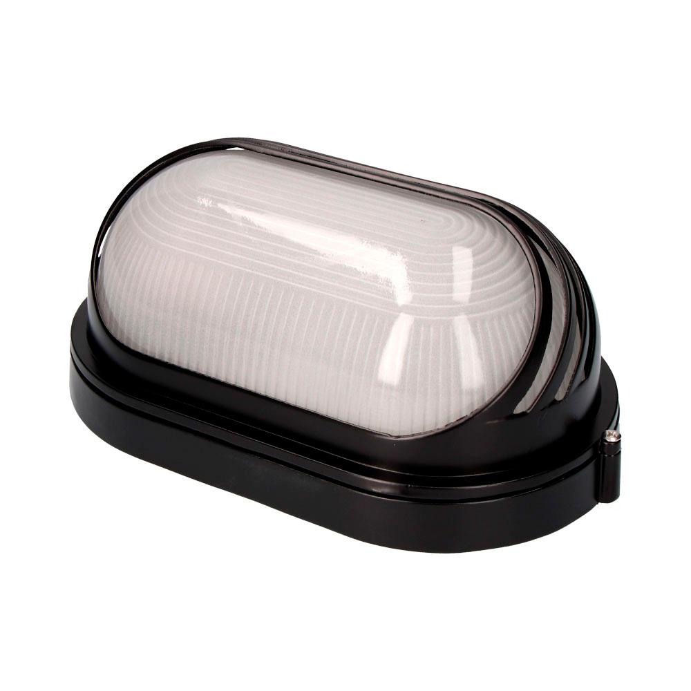 Aplique Aluminio Ip54 Oval Negro E27 60W Modelo Vinyols