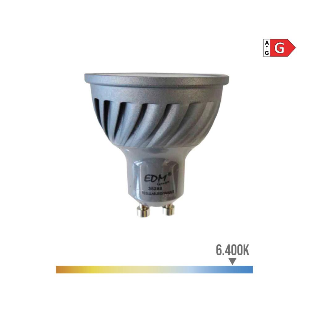 Bombilla Dicroica Gu10 Led 6W 480 Lumens Apertura 120º  Regulable 6.400K Luz Fria Edm