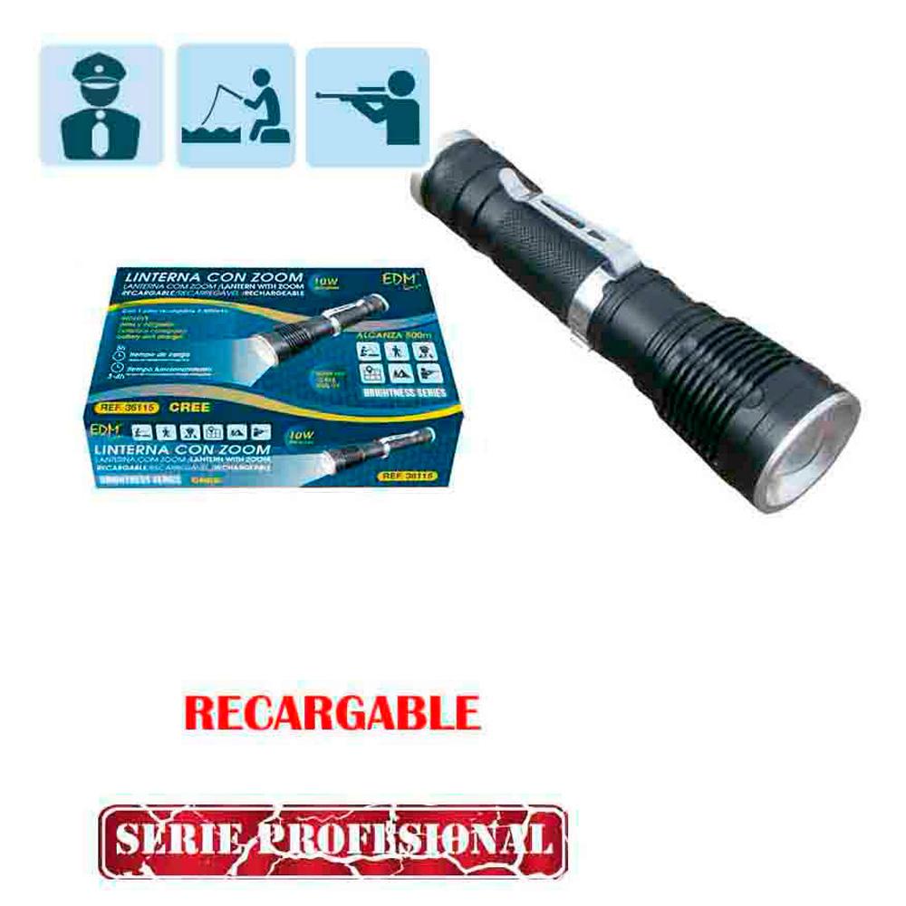 """Linterna Con Zoom Recargable """"Especial Cazador 1 Sola Funcion""""  1 Superled 10W Cree Xml-T6"""