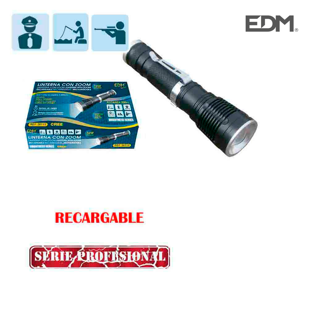 Linterna Mini Con Zoom Recargable 1 Superled Cree Xml-T6 10W