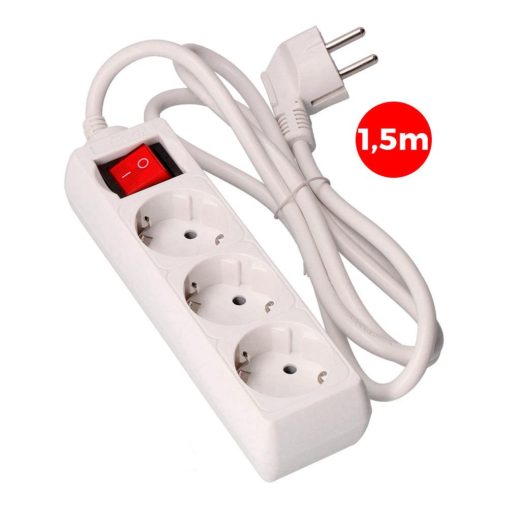 Base Multiple 3 Tomas Schuko Con Interruptor 1,5M 3X1,5Mm