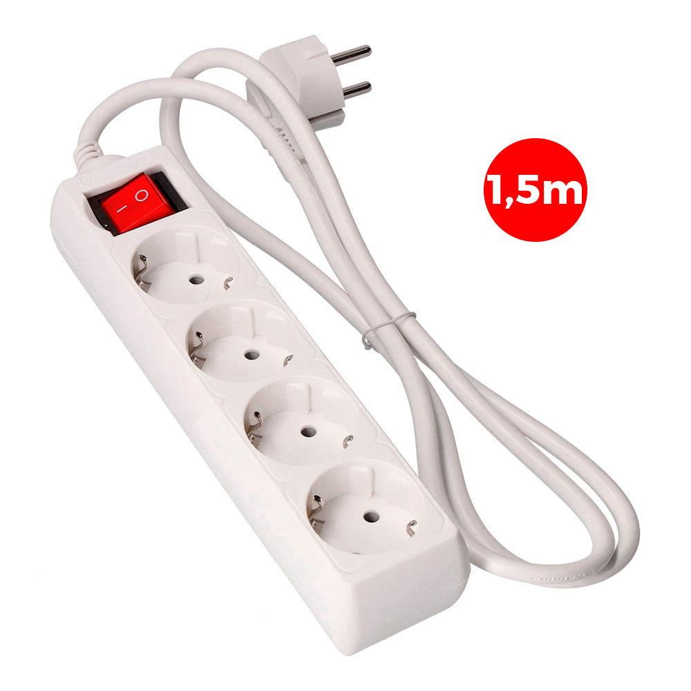 Base Multiple 4 Tomas Schuko Com Interruptor 1,5M 3X1,5Mm