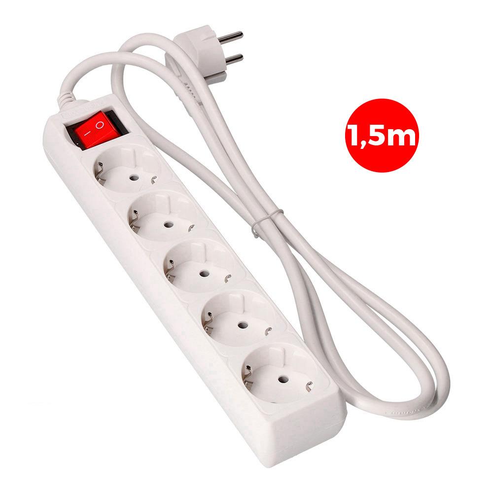 Base Multiple 5 Tomas Schuko Com Interruptor 1,5M 3X1,5Mm