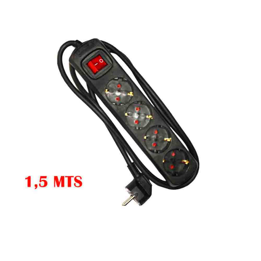 Base Multiple 4 Tomas Schuko Com Interruptor 1,5M 3X1,5Mm Color Negro