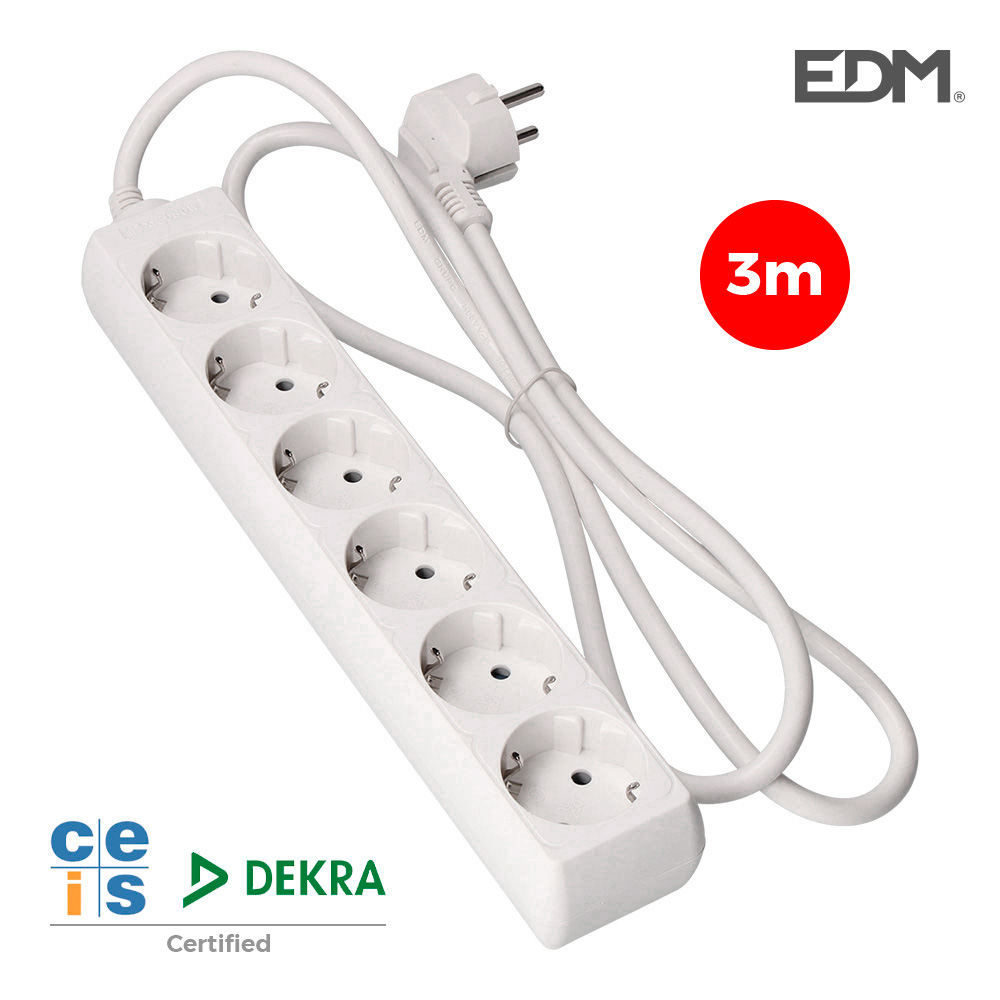Base Multiple 3 Tomas T/Tl Con Interruptor 3M 3X1,5Mm