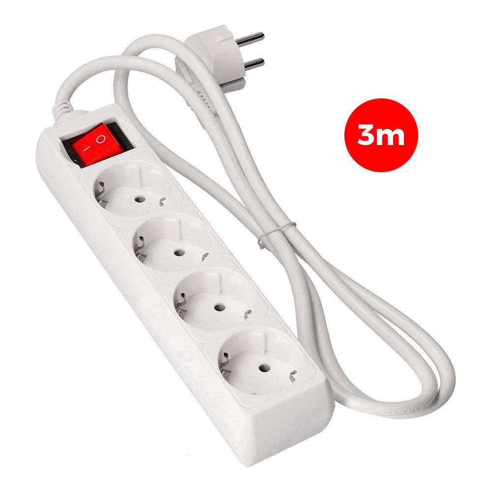 Base Multiple 4 Tomas T/Tl Con Interruptor 3M 3X1,5Mm