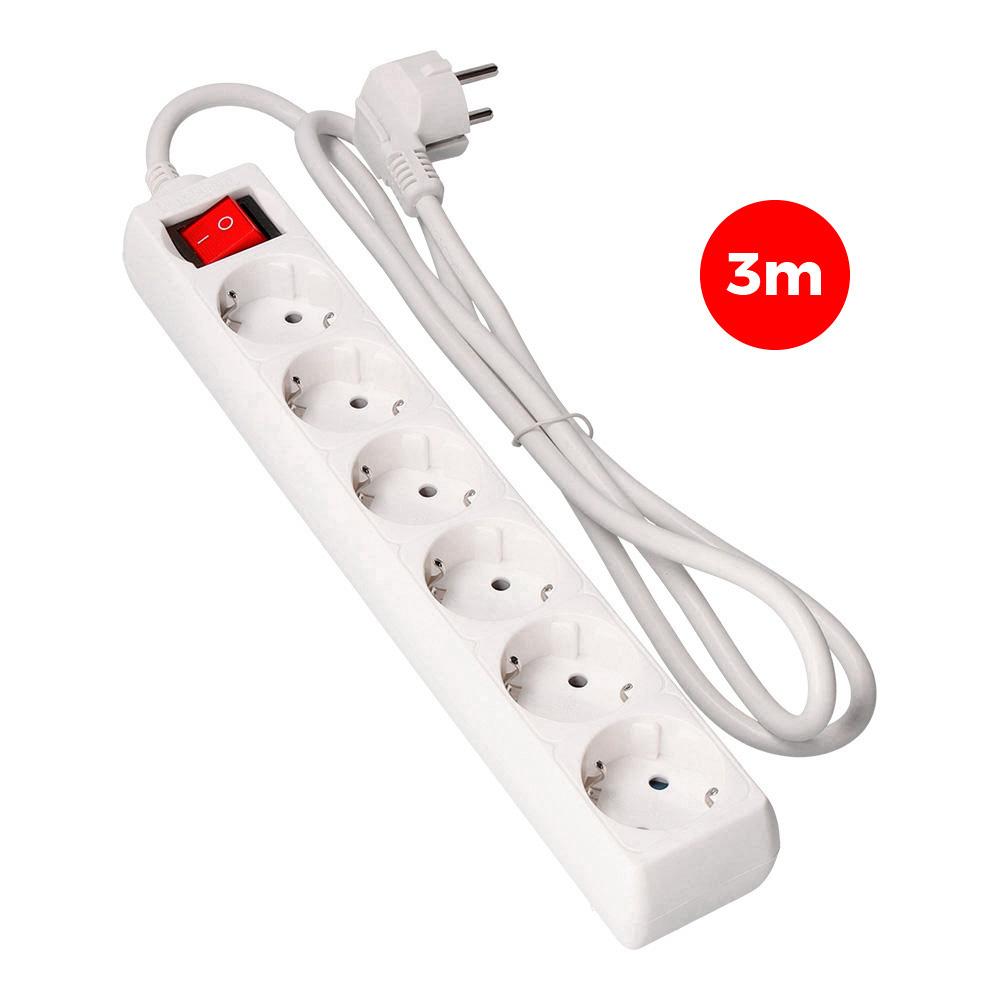 Base Multiple 4 Tomas Schuko Con Interruptor 5M 3X1,5Mm