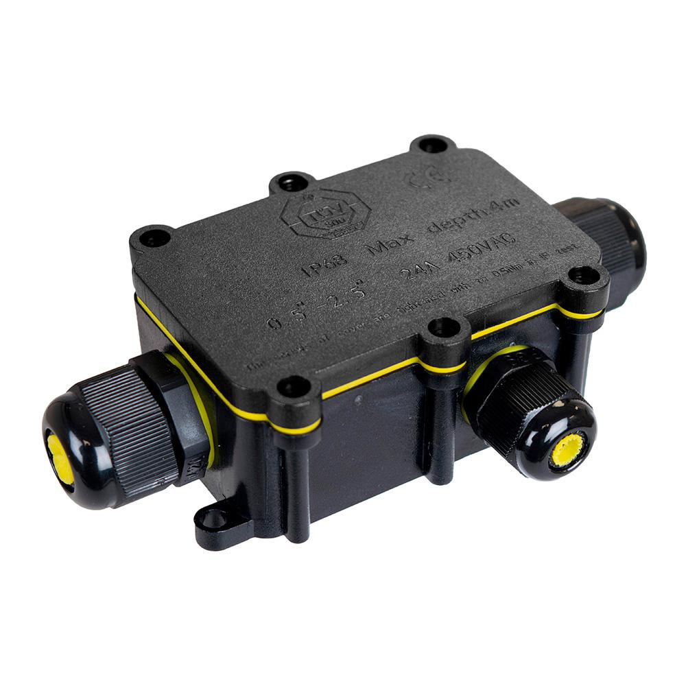 Caja De Conexion Para Luminarias Con 3 Prensaestopas Ip68 Para Exterior 8X5,2X3,7Cm Black Series