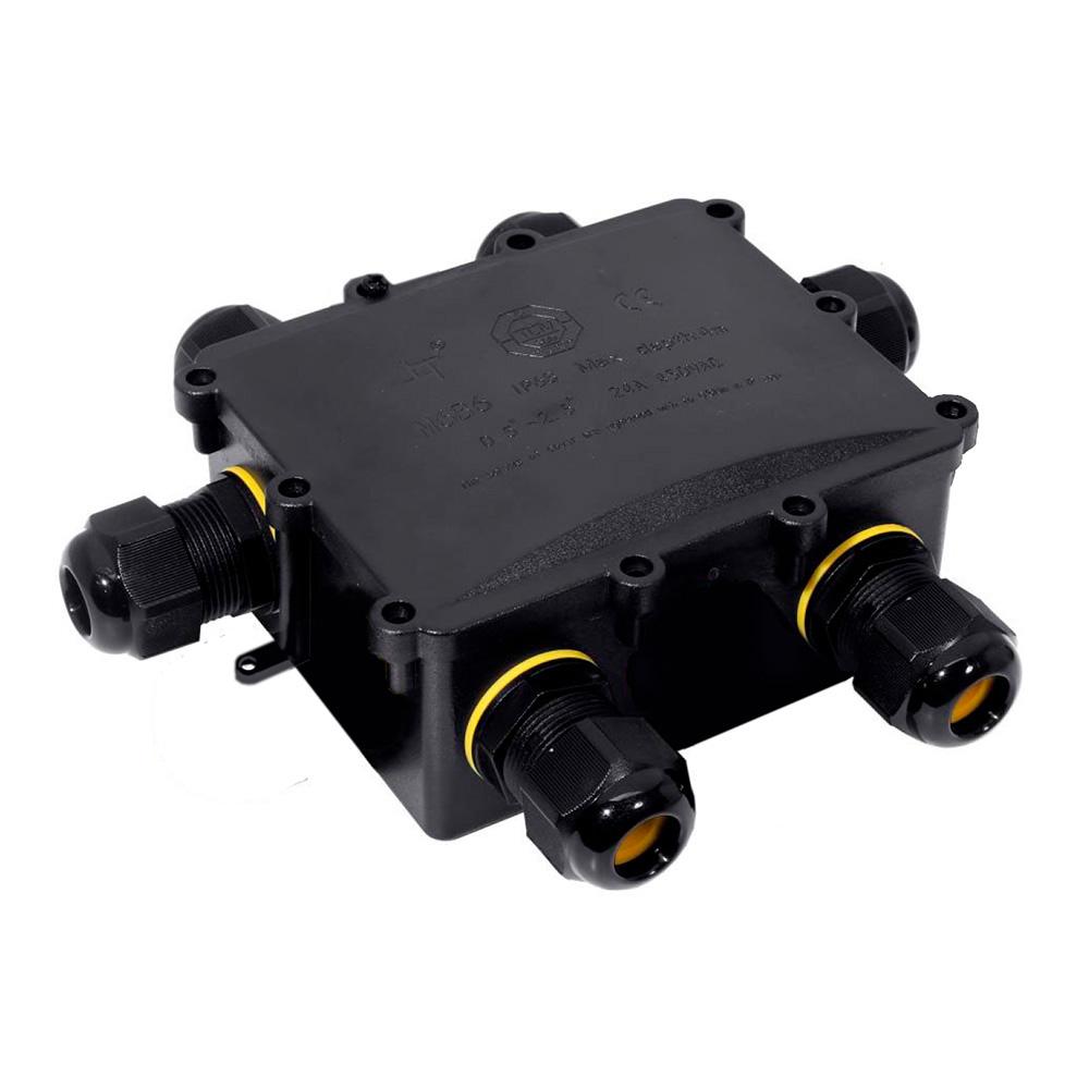 Caja De Conexion Para Luminarias Con 6 Prensaestopas Ip68 Para Exterior 13,5X11,5X4,7Cm Black Series