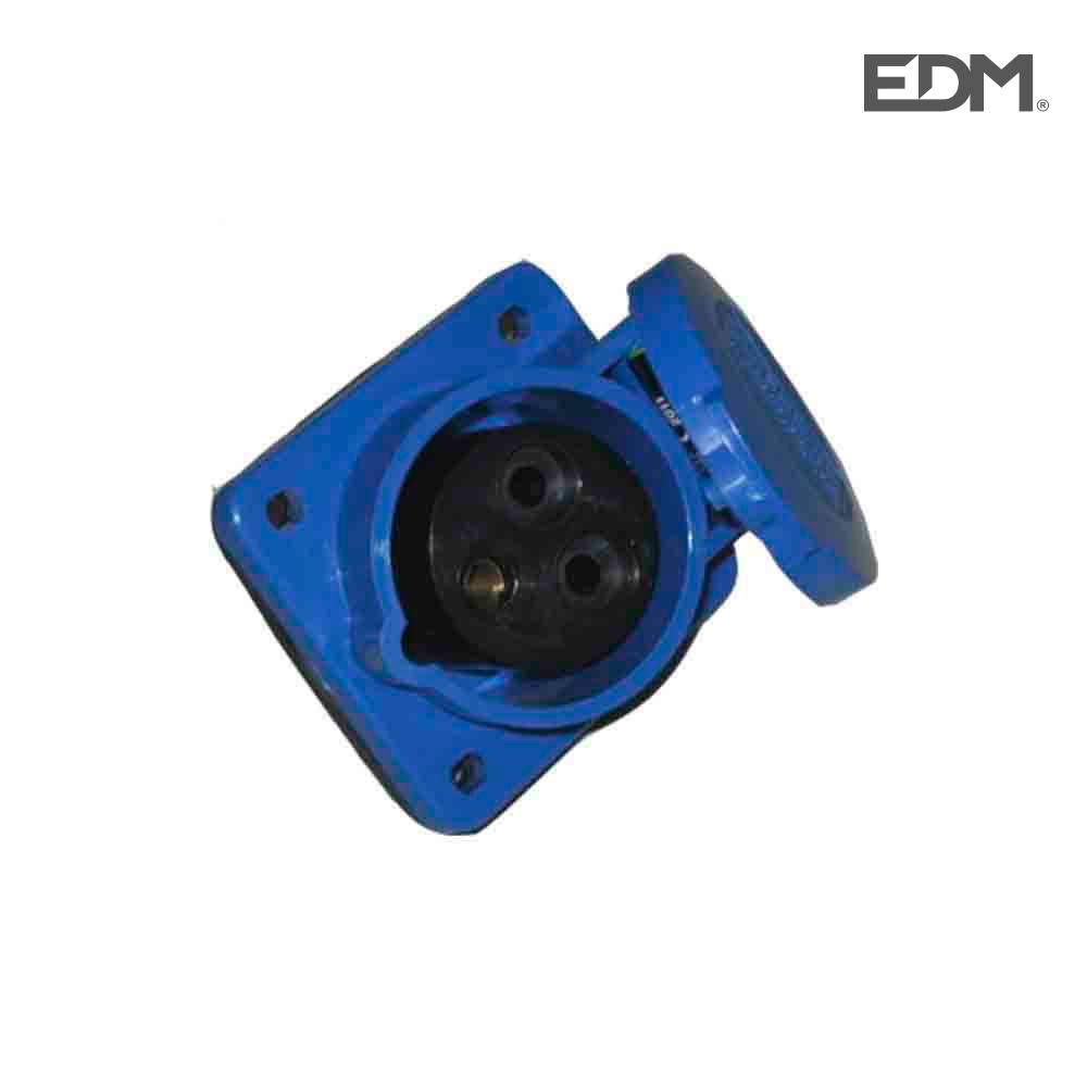 Base Empotrar Cetac 2 P+T Azul 16A