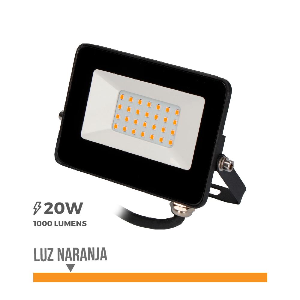 "Foco Proyector Led  20W Luz Naranja  ""Black Edition"" Edm"