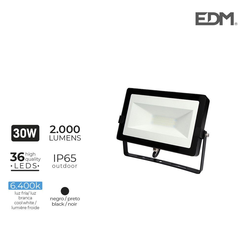 "Foco Proyector Led  30W 6400K 2000 Lumens ""Black Edition"" Lumeco"