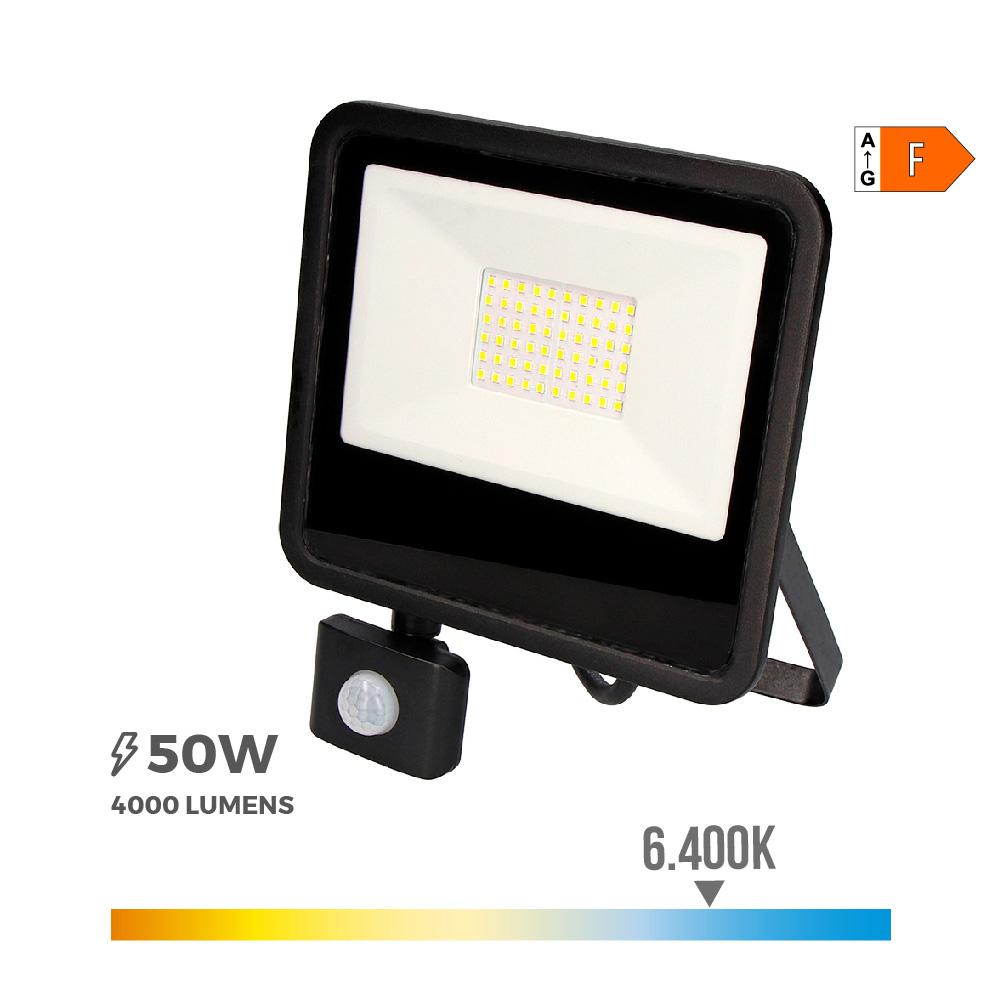 "Foco Proyector Led  50W 6400K Con Sensor ""Black Edition""  Edm"