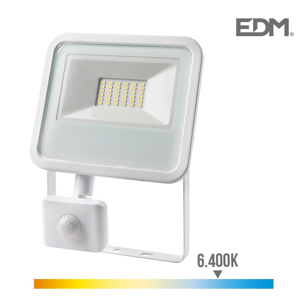 Foco Proyector Led  Extraplano Smd Ip44 220-240V 30W 6.400K Luz Fria 2100 Lumens Con Sensor De Presencia Edm