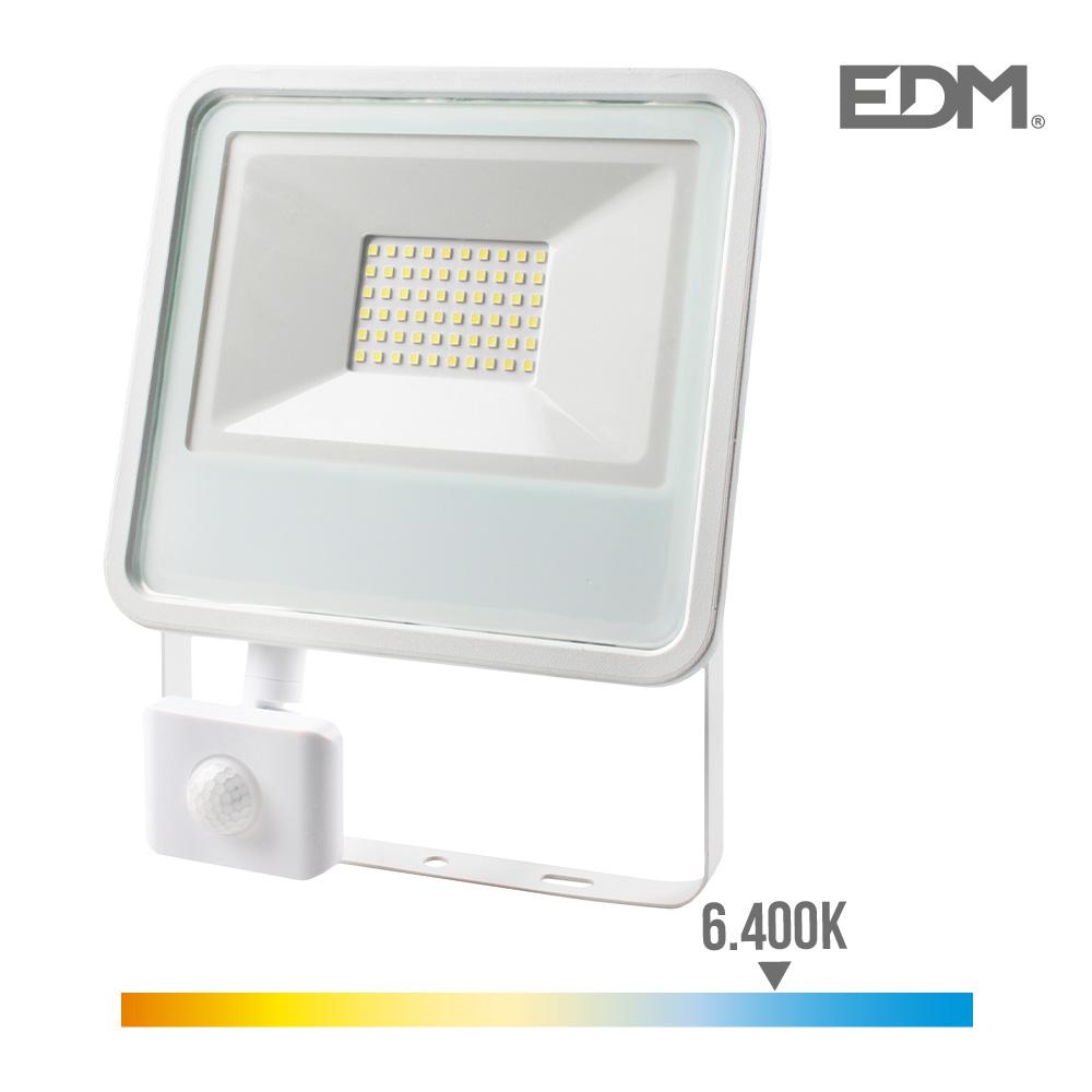 Proyector Multiled Extraplano Smd Ip44 220-240V 50W 6.400K Luz Fria 3500 Lumens Con Sensor De Presencia Edm