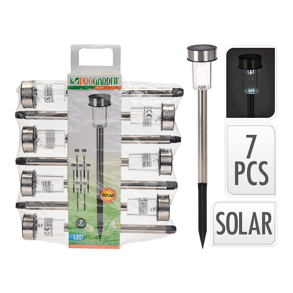 Pack 7 Estacas Solar De Acero Inoxidable