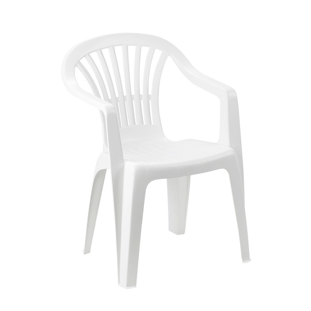 Sillon apilable respaldo bajo color blanco 56x54x80cm